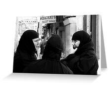 """Three Nuns Chatting"" Greeting Card"