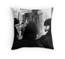 """Three Nuns Chatting"" Throw Pillow"