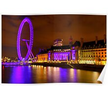 The London Eye & Aquarium at Night Poster