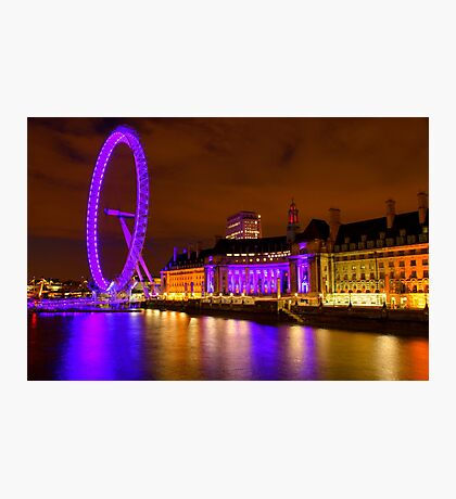 The London Eye & Aquarium at Night Photographic Print