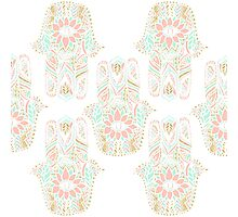 Modern girly pink mint gold Hamsa hand of fatima Photographic Print