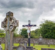 celtic cross headstone and crucifix by morrbyte