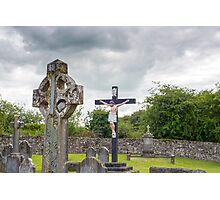 celtic cross headstone and crucifix Photographic Print
