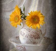 Textured Sunflowers in Pitcher by Colleen Drew