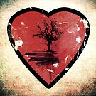 Love Nature - Grunge Tree and Heart - Earth Friendly T Shirt by Denis Marsili - DDTK