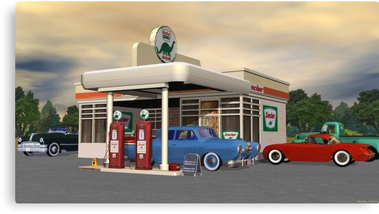 1950's Gas Station by Walter Colvin