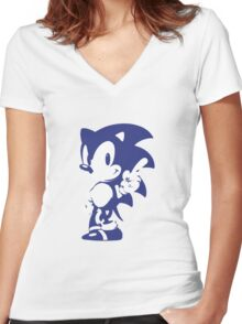 Minimalist Sonic 9 Women's Fitted V-Neck T-Shirt