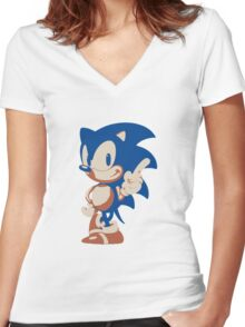 Minimalist Sonic 4 Women's Fitted V-Neck T-Shirt