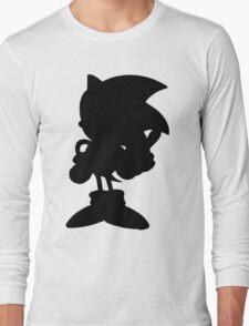 Classic Sonic Silhouette - Black Long Sleeve T-Shirt