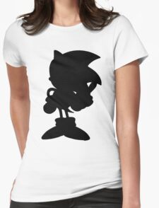 Classic Sonic Silhouette - Black Womens Fitted T-Shirt