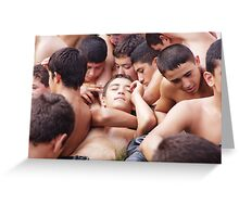 Young Turkish wrestler boys relaxing before the match Greeting Card