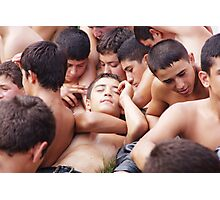 Young Turkish wrestler boys relaxing before the match Photographic Print