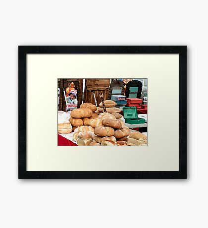 Impression of a festival market in Shipley UK 2008 Framed Print