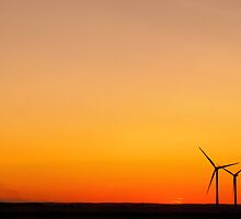 Wind Turbines at Sunset by Mick Smith