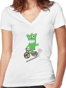 Critter Bike  Women's Fitted V-Neck T-Shirt