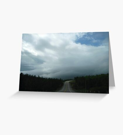 Driving into the storm in North West Ontario Canada Greeting Card