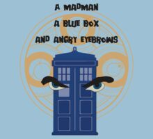 A mad man, a blue box and angry eyebrows Kids Clothes