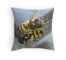 stuck (2 hoverflies) Throw Pillow