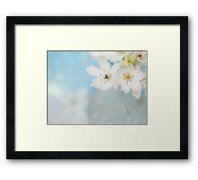 """""""Whispery White Flowers on Worn Linen"""" Framed Print"""