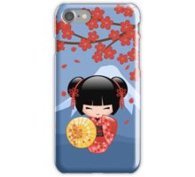 Japanese Red Sakura Kokeshi Doll iPhone Case/Skin