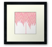 Coral and Pink 8-Bit Drips Framed Print