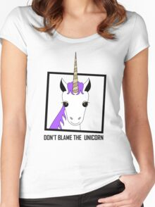 DON'T BLAME THE UNICORN Women's Fitted Scoop T-Shirt