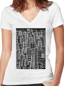 Cityscape Doodling #2 Women's Fitted V-Neck T-Shirt
