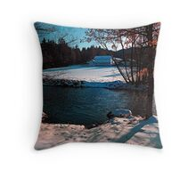 River across winter wonderland | landscape photography Throw Pillow