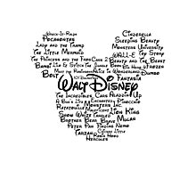 Disney Typography- Black Text Photographic Print