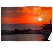 Sunrise over Heraklion Harbour Poster