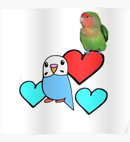 Cartoon Budgie with Real Peach-faced Lovebird  Poster