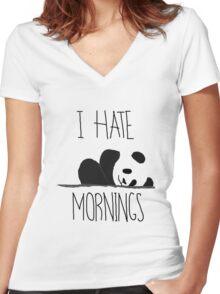 Panda Pain (I Hate Mornings) Women's Fitted V-Neck T-Shirt