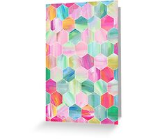 Pretty Pastel Hexagon Pattern in Oil Paint Greeting Card