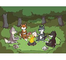 Campfire Wolves Photographic Print