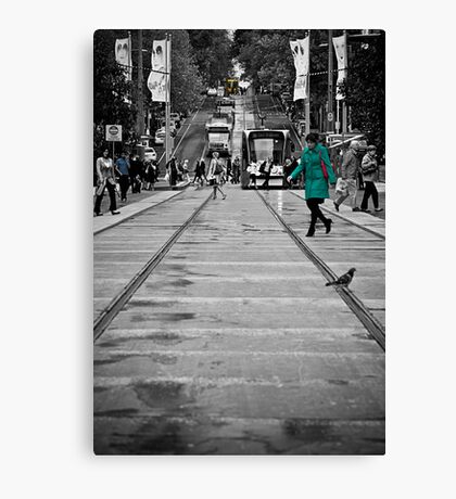 Bourke Street in Yellow Green & Blue Canvas Print