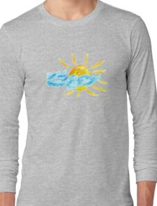 Hand Drawn Sun and Clouds Long Sleeve T-Shirt
