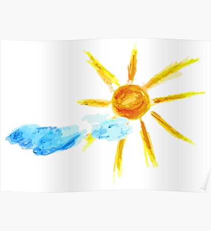 Hand Drawn Sun and Clouds 2 Poster