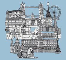 London toile blue Kids Tee