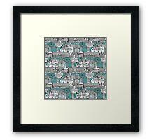 London toile blue Framed Print