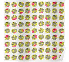 Pink and Yellow Floral on Grey Wtercolor Polka Dot Poster