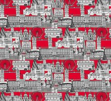 London toile red by Sharon Turner