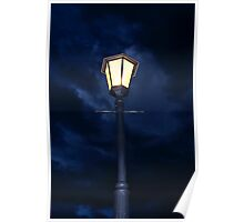 Lamp Pole on a Dark Gloomy Night  Poster