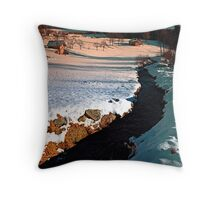 Black stream in winter wonderland | landscape photography Throw Pillow