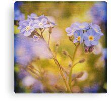 Blue Floral Textured  Canvas Print