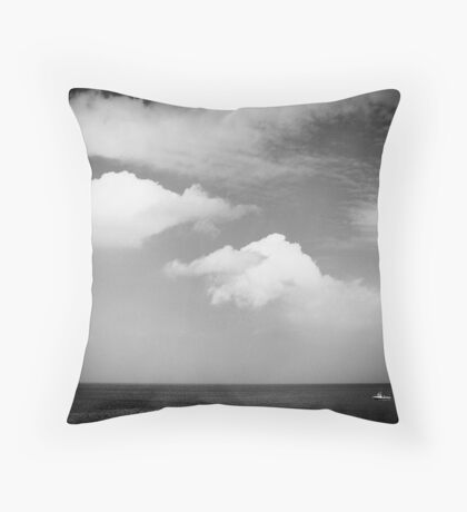 Big sky, small boat Throw Pillow