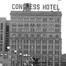 black and white chicago crongress hotel on Michigan ave. by BlackHairMoe