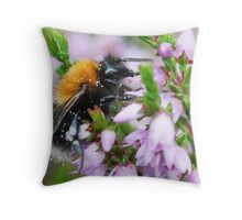 Bumble bee in Heather Throw Pillow