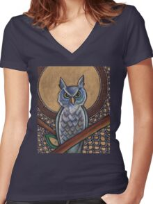 Night Owl Tee Women's Fitted V-Neck T-Shirt