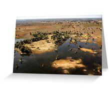 Bird's eye view of the Okavango Delta, Botswana Greeting Card