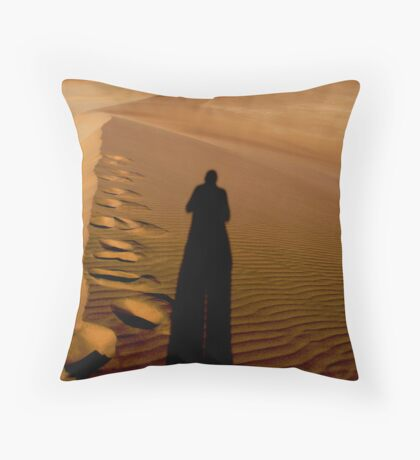 Stepping over the own shadow Throw Pillow
